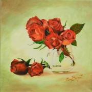 tableau fleurs rose bouquet fleurs vase : ROSES ROMANTIQUES