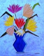 tableau fleurs fleurs stylise moderne : le vase bleu