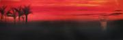 tableau paysages miami palmier couche de soleil ciel orange rose : Quixotik