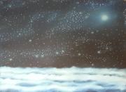 tableau paysages nuage etoiles lune ciel : Constellations d'esprit