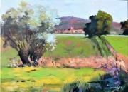 tableau paysages paysage campagne village blaesheim : Champs à Blaesheim