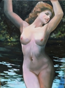 tableau nus baignade sixties alsacienne riviere : Nymphe