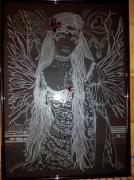 tableau gravure gravure sur verre tableau ange : L'ange blessé
