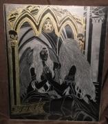 painting gravure gravure sur verre tableau : Reflet dans le miroir