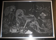 tableau gravure gravure sur verre tableau manga : Manga
