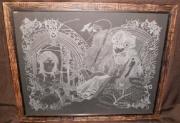 painting gravure tableau gravure sur verre : La Lecture du Mage