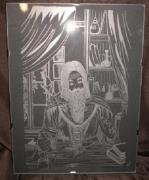 tableau gravure tableau gravure sur verre : Le Druide