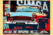 photo scene de genre simca vintage classic vedette simca classic cars popart cars : Simca Vedette Trianon 1955
