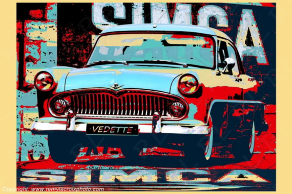 PHOTO Simca Vintage Classic Vedette Simca Classic cars Pop-Art Cars Scène de genre  - Simca Vedette Trianon 1955