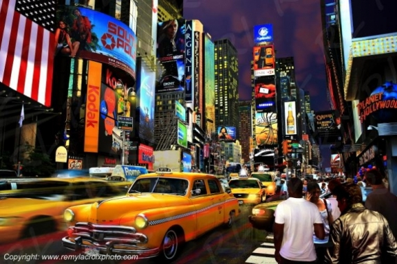 PHOTOGRAPHY New-York Times Square Yellow Cab Manhattan Villes  - Times Square by night
