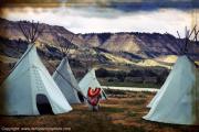 photo scene de genre indiens d ameri tipi amerindiens mother earth : Village de Tipis