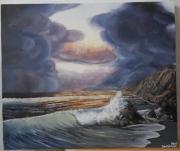 tableau marine ocean wave sky cloud : Sunset and waves of ocean
