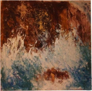 tableau marine mer rochers ecume vagues : falaises