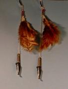 bijoux abstrait earring boucles d oreil feather pierre fine : Boucles d'oreille en tourmaline et plume
