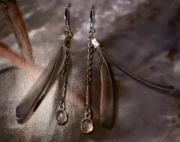 bijoux abstrait earring boucles d oreil feather pierre fine : Boucles d'oreille en pierre et plume