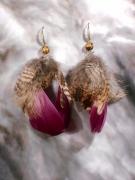 artisanat dart abstrait earring boucles d oreil feather pierre fine : Boucles d'oreille en oeil de tigre et plume de bécasse