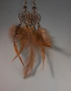 bijoux abstrait earring boucles d oreil feather pierre fine : Boucles d'oreille attrape rêve en pyrite et plume