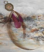 artisanat dart abstrait pierre fine feather bookmark marque page : Marque-page en jaspe et plumes