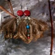 bijoux abstrait earring boucles d oreil feather plume : Boucles d'oreille en pierre et plume