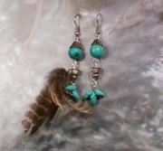 bijoux abstrait earring boucles d oreil feather plume : Boucles d'oreille asymétriques turquoises