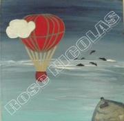 tableau paysages mongolfieretableau : Promenade en mongolfière