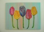tableau fleurs roses tulipes fleurs : Roses ou tulipes