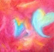 tableau abstrait coeur amour turquoise aurore boreale : Aurore Boréale