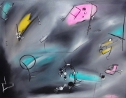 tableau abstrait fete rose turquoise jaune : Festivités