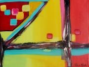 tableau abstrait cube geometrie jaune noir : Les 4 chemins