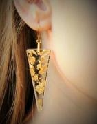 bijoux autres feuilles d or resine boucles d oreil triangle : Bijou no 10 - Collection feuilles d'or