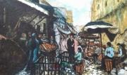 tableau scene de genre maroc paysage aquarelle : Le maroc