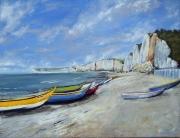 tableau marine yport plage normandie barque : Plage d'Yport