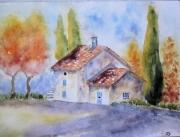 tableau paysages arbre maison automne : la maison aux cyprès