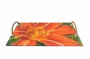 """deco design fleurs plateau fleurs apero jardin : plateau plexi """"Coeur d'hémérocalle"""""""
