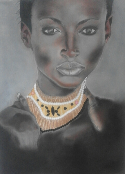 TABLEAU PEINTURE Personnages Pastel  - Black Woman