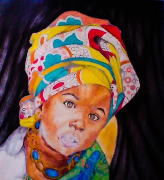 TABLEAU PEINTURE Personnages  - African Girl