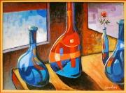 tableau nature morte bouteilles elegance couleurs : Les bouteilles et la rose