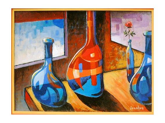 TABLEAU PEINTURE Bouteilles elégance couleurs Nature morte Acrylique  - Les bouteilles et la rose