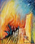 tableau scene de genre abstrait ,a voir ,a toucher ,a vivre : Terre brûlée
