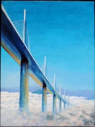 tableau architecture terre ciel nuages : Entre terre et ciel: viaduc de Millau