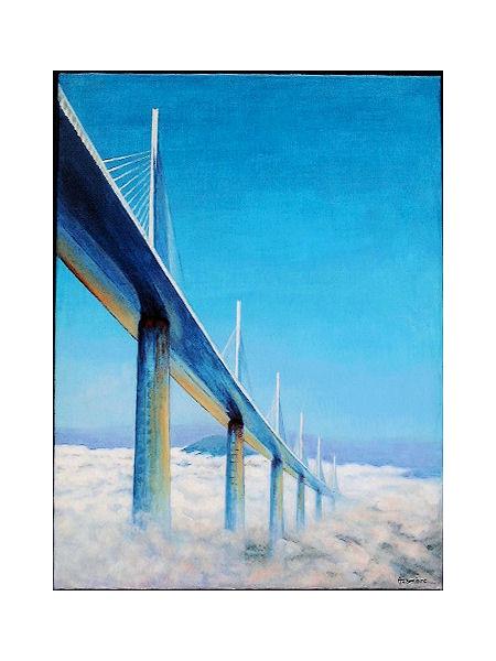 TABLEAU PEINTURE Terre ciel nuages Architecture Acrylique  - Entre terre et ciel: viaduc de Millau
