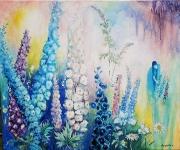 tableau paysages ete fleurs joie : Les Delphiniums