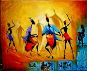 tableau personnages africain moderne : Les Djembés