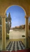 tableau trompe oeil italie panoramique : Lac de come -italie