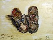 tableau nature morte figuratif soulier chaussure huile : Souliers de jardin