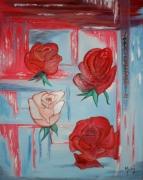 tableau fleurs contemporain moderne rose toile : Quatre roses