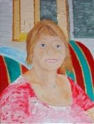 tableau personnages sourire portrait huile rose : sourire