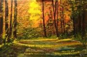 tableau paysages foret clairere arbre soleil : Clairière en foret