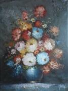 tableau fleurs bouquet fleurs huile toile : bouquet d'Antan