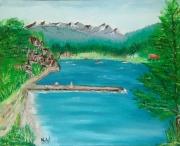 tableau paysages lac bleu laffrey isere : Lac de Laffrey